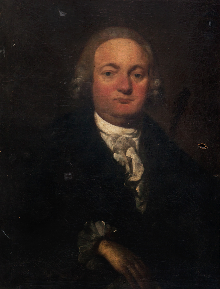 Oil painted portrait of man with grey curled wig, reddened cheeks and nose wearing dark coat with while collars and cuffs showing.